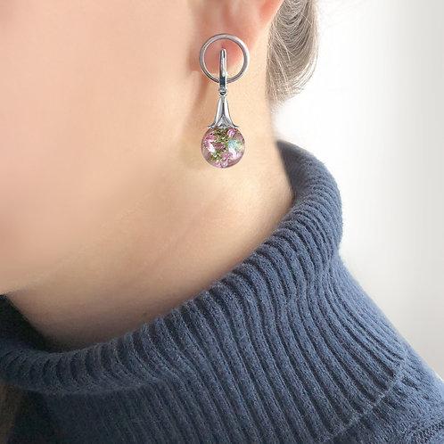 Красивые серебряные серьги с розовым вереском