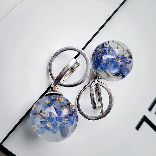 Серебряные серьги с восхитительными незабудками, арт. 02-0400-06