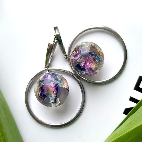 Космические серебряные серьги с лепестками гвоздики, арт. 02-0200-32
