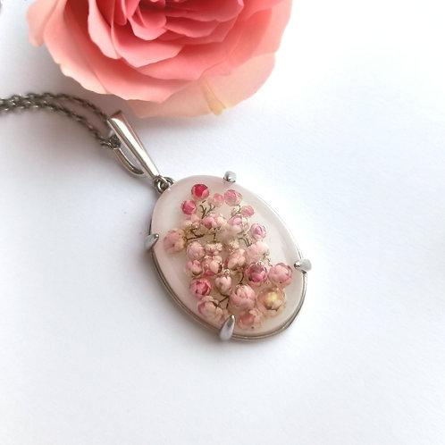 Крупный серебряный кулон с розовым озотамнусом