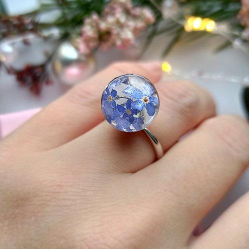 Классическое кольцо с незабудками, арт. 01-0400-06