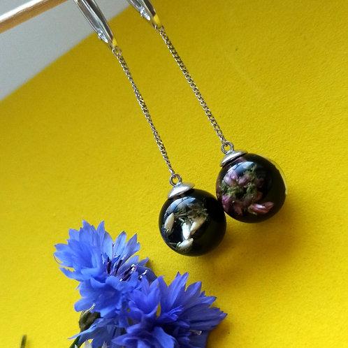 Длинные серьги с вереском двух цветов, арт. 12-0600-29