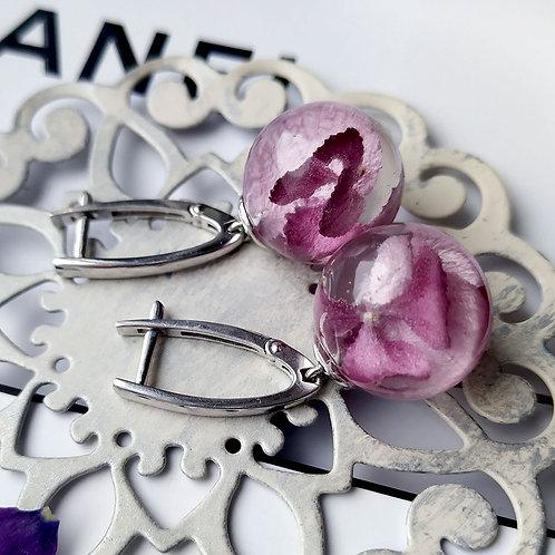 Серебряные серьги с розовой гортензией, арт. 02-0900-03