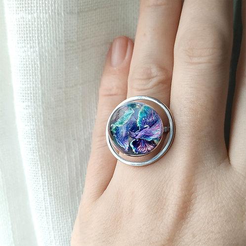 Кольцо-вселенная с лепестками гвоздики, арт. 01-0200-32