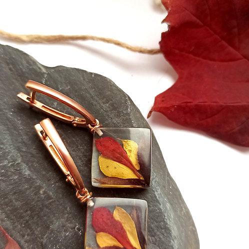 Золоченые серьги с осенними листиками