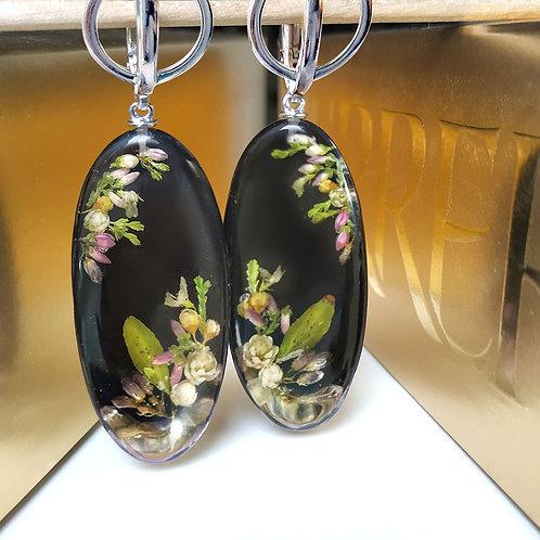 Длинные серебряные серьги с цветочной композицией, арт. 12-0408-00