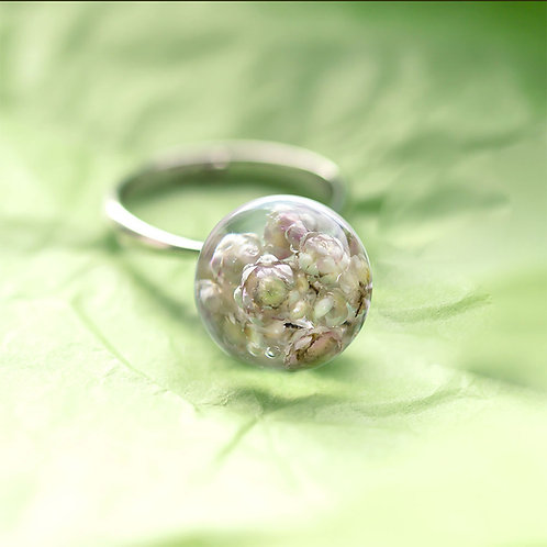 """Кольцо с настоящим """"рисовым"""" цветком, арт. 01-0400-01"""