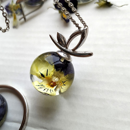 Серебряная подвеска цветочком полевой фиалки, арт. 03-0300-09