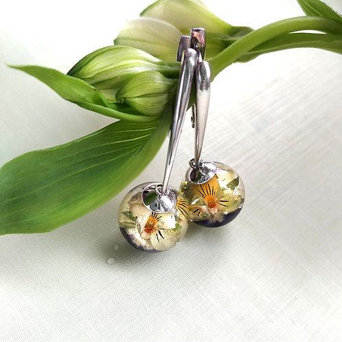 Серебряные серьги с букетиками полевой фиалки , арт. 02-0100-09