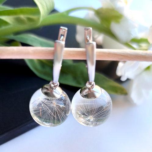 Классические серебряные серьги с пушинками, арт. 02-1500-26*