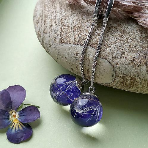 Длинные серебряные серьги Violet, арт. 72-0600-26