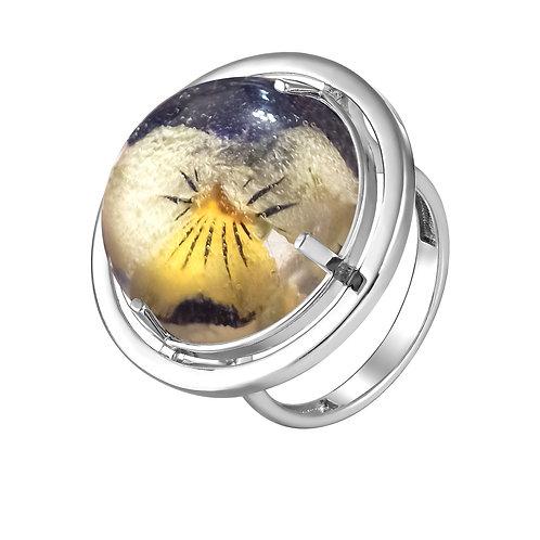 Серебряное кольцо с фиалкой триколор, арт. 01-0310-09*