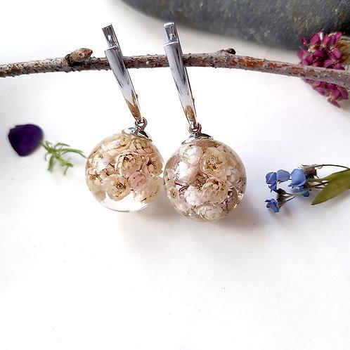 Ванильно-пломбирные серебряные серьги с озотамнусом, арт. 02-0900-01