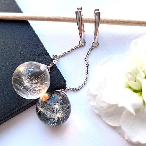 Длинные серебряные серьги с пушинками одуванчика Инь Ян, арт. 02-0600-26