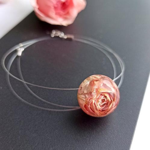 Копия Колье-невидимка с розовой розой