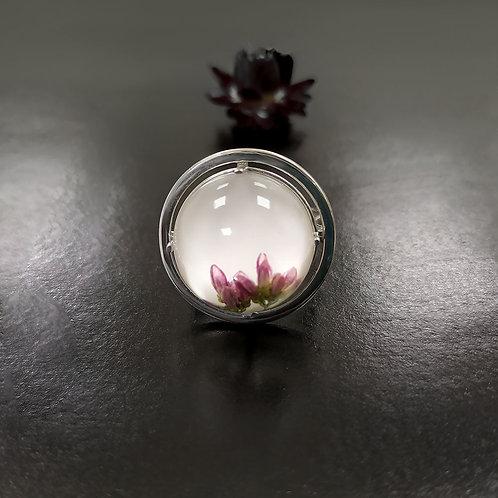 Серебряное кольцо с розовым вереском,арт. 21-0310-29