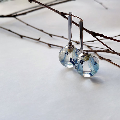 Серебряные серьги с первыми весенними цветами, арт. 02-0900-02