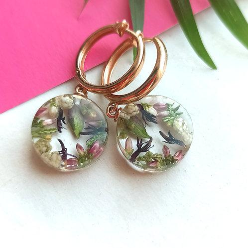 Цветочные серьги-конго из золоченого серебра