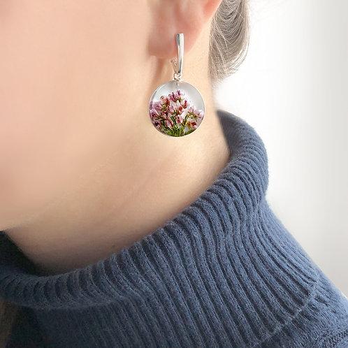 Cеребряные серьги с лиловым вереском