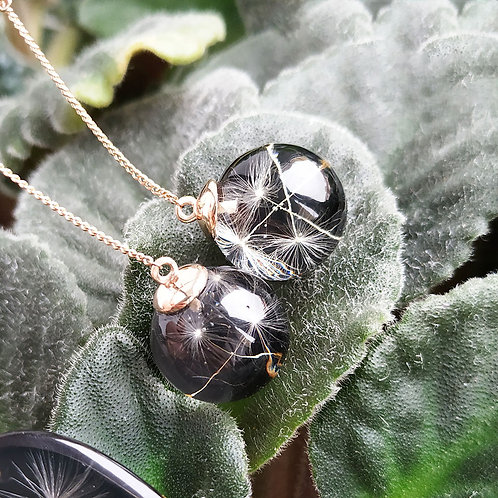 Длинные позолоченные серебряные серьги с пушинками одуванчика, арт.12-0600-26*