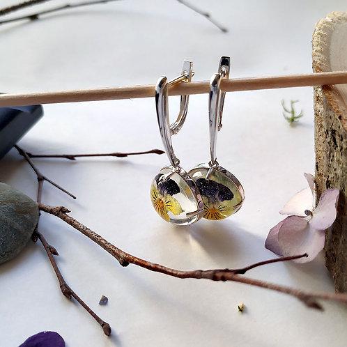 Серебряные серьги с фиолетово-желтыми фиалками, арт. 02-0110-09*