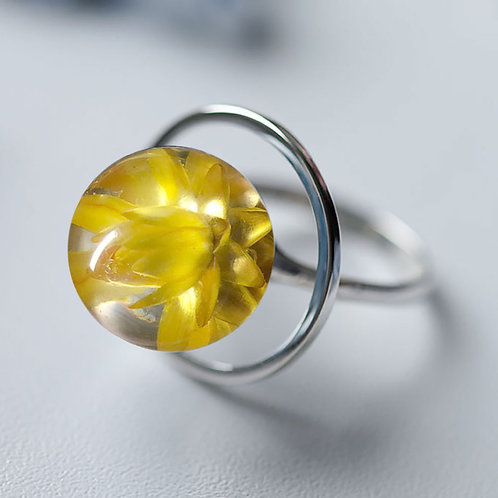 Кольцо с жёлтым гелихризумом, арт. 01-0200-07
