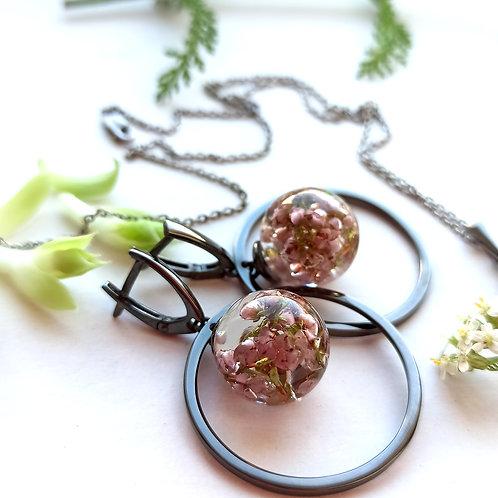 Экстравагантные серебряные серьги с лесным вереском