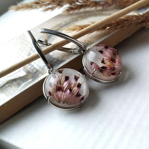 Серебряные серьги с цветками Эрики, арт. 22-2510-29
