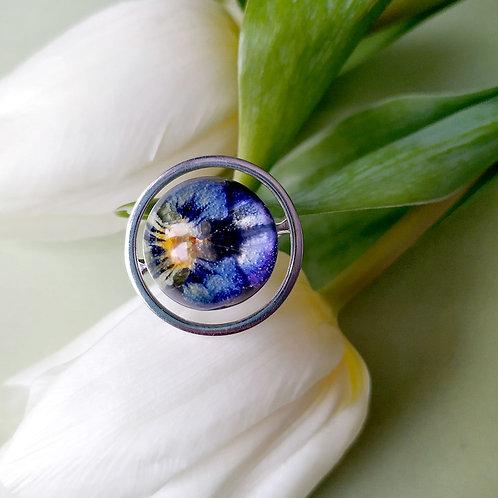 Кольцо с полевой фиалкой, арт. 01-0200-09