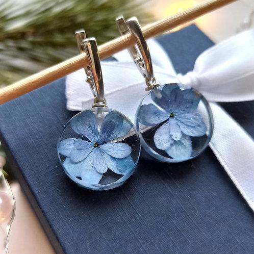 Cеребряные серьги с голубой гортензией