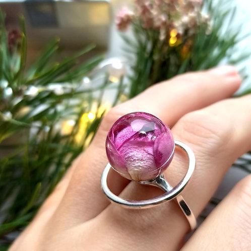 Серебряное кольцо с розовой розой