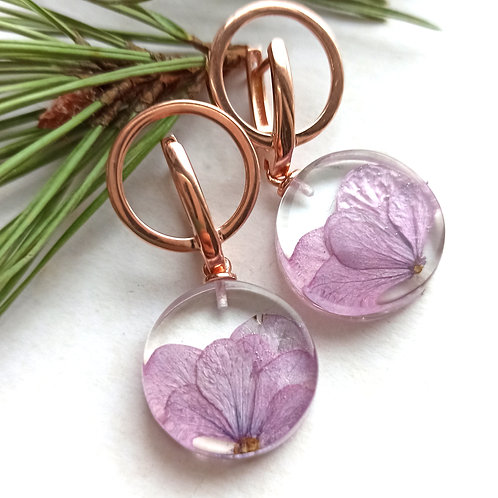 Розовые серебряные серьги с гортензией
