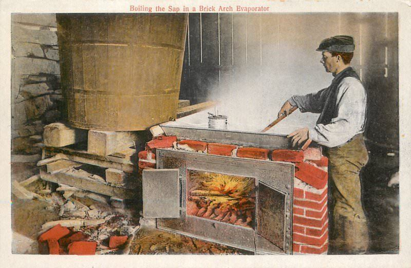 A drawing of a man stirring a large metal pan over a wood fire with a large wooden tub next to it. Steam rises from the metal tub as it cooks the maple sap water.