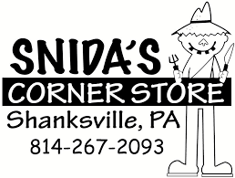 "Black and white logo of Snida's Corner Store that reads ""Snida's Corner Store, Shanksville PA, 814-267-2093"""