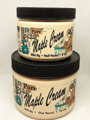 """Two stacked containers labeled """"Pure Maple Cream"""" produced by Brantview Farms Maple"""