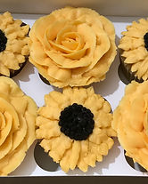 Flower cupcakes, sunflower cupcakes, rose cupcakes