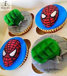 Spiderman cupcakes, hulk cupcakes, superhero cupcakes