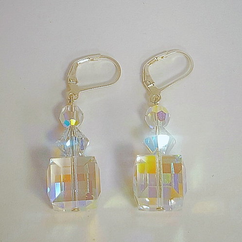 Large Swarovski Crystal 12mm AB cude Earrings
