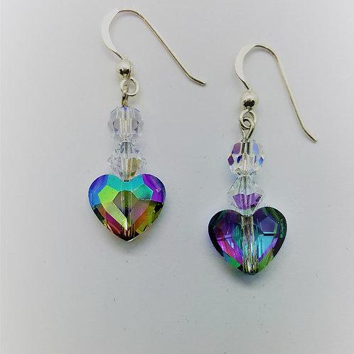 Swarovski Crystal Heart shape Earrings/ with silver hooks