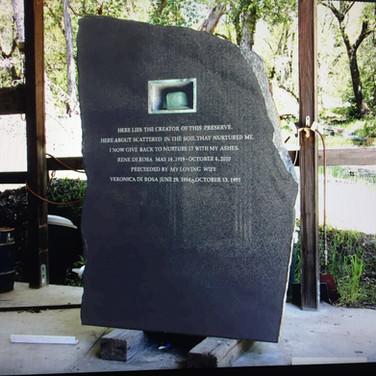 Memorial stone for Rene' di Rosa