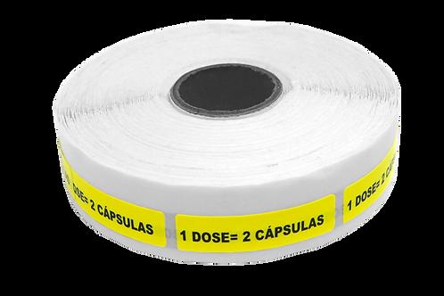 Etiqueta Adesiva 1 Dose = 2 Cápsulas (1 Rolo C/ 1000 Unidades)