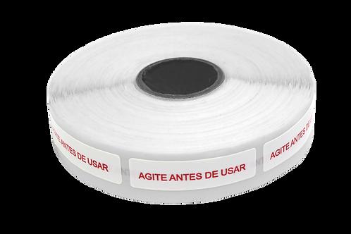 Etiqueta Adesiva Agite Antes de Usar (1 Rolo C/ 1000 Unidades)