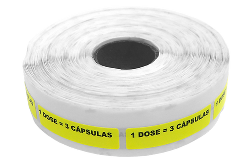 Etiqueta Adesiva 1 Dose =3 Cápsulas (1 Rolo C/ 1000 Unidades)