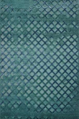 Teal Turquoise Diamond Pattern Vintage Style Rug