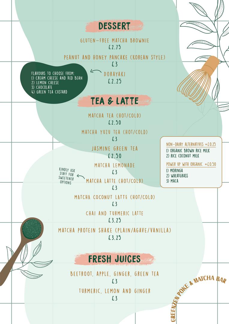 GreenZen Menu - Dessert & Drinks