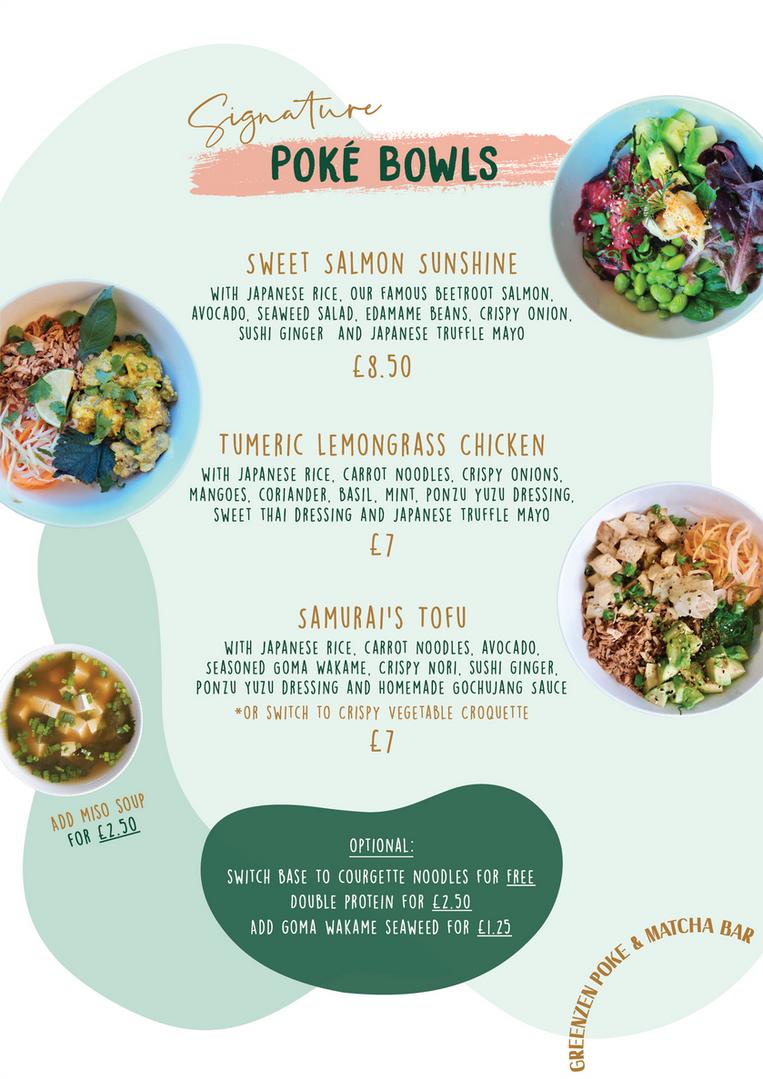 GreenZen Menu - Poke Bowls (UPDATED 5-1-21)