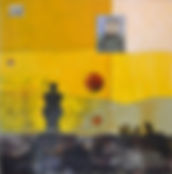 encaustic, yellow painting abstract, Nahum Flores