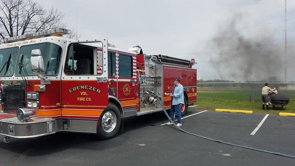 Engine during flag burning ceremony