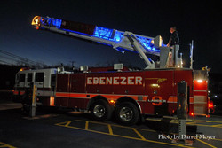 Steve Ronald setting up ladder