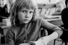 Schoolgirl in a one room schoolhouse